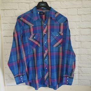 Wrangler Bottom Down Pearl Snap Long Sleeve Shirt